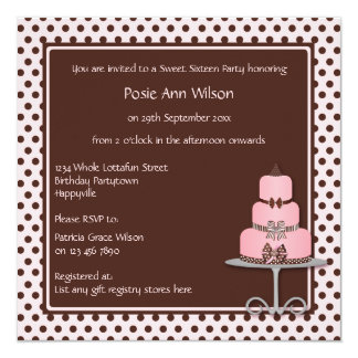 Pastel Pink & Brown Polka Dots with Birthday Cake 13 Cm X 13 Cm Square Invitation Card