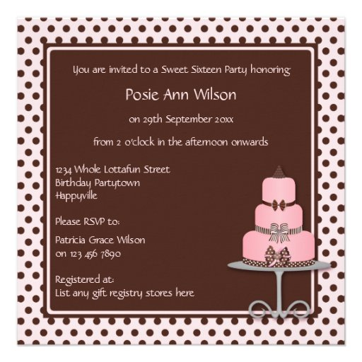 Pastel Pink & Brown Polka Dots with Birthday Cake Announcements