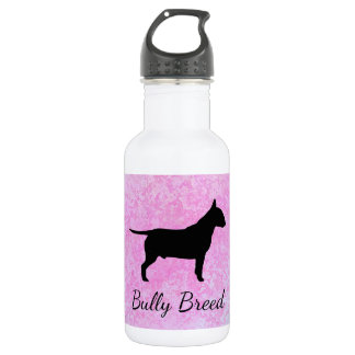 Pastel Pink Bully Breed Dog Water Bottle