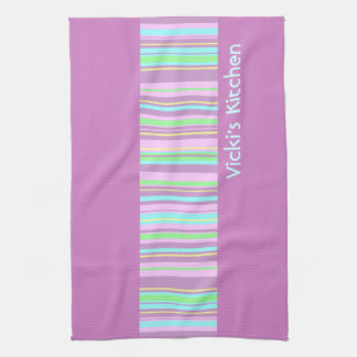 Pastel Pink Candy Stripe kitchen tea towel