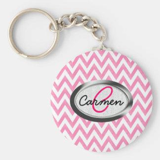Pastel Pink Chevron Monogram Basic Round Button Key Ring