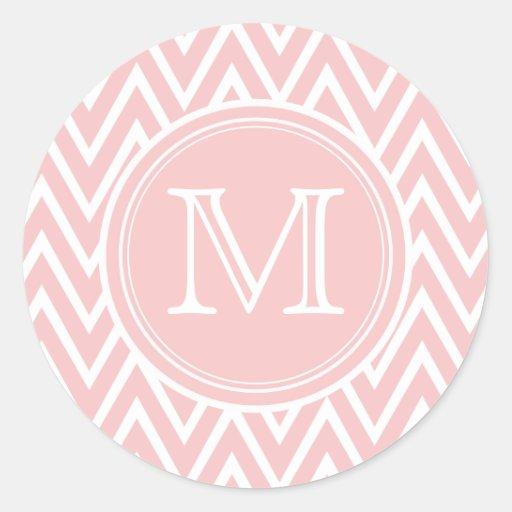 Pastel Pink Chevron Monogram Round Stickers
