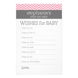 Pastel Pink Chevrons Baby Wishes Shower Game 14 Cm X 21.5 Cm Flyer
