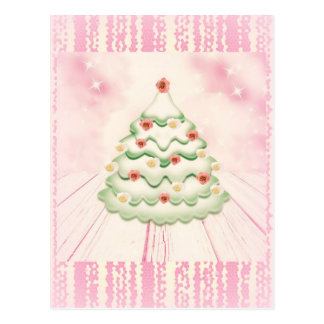 Pastel pink Christmas tree with roses postcard