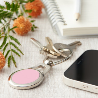 Pastel Pink color Silver-Colored Oval Key Ring