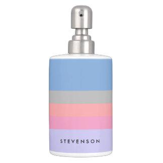 pastel pink coral grey blue purple color block bathroom set