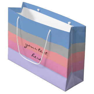 pastel pink coral grey blue purple color block large gift bag