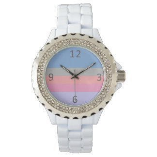 pastel pink coral grey blue purple color block watch