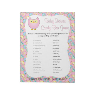 Pastel Pink Cute Owl Baby Shower Theme | Game Notepad