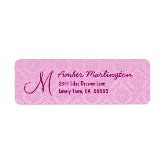 Pastel Pink Damask Wedding R771 Return Address Label