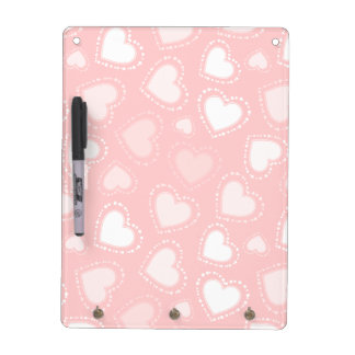 Pastel Pink Dotted Hearts Dry Erase Board