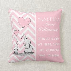 Pastel Pink Elephant Personalised Baby Girl Birth Cushion