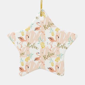 Pastel Pink Flamingo Relax Print Christmas Ornament