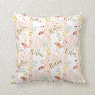 Pastel Pink Flamingo Relax Print Cushion