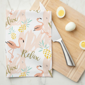 Pastel Pink Flamingo Relax Print Tea Towel
