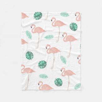 Pastel pink flamingo tropical leaf watercolor fleece blanket