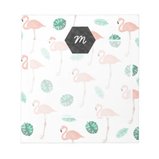 Pastel pink flamingo tropical leaf watercolor notepad