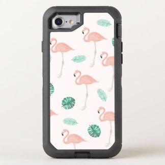 Pastel pink flamingo tropical leaf watercolor OtterBox defender iPhone 8/7 case