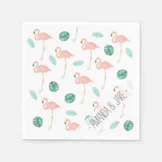 Pastel pink flamingo tropical leaf watercolor paper napkin