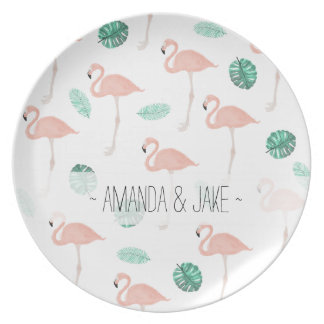 Pastel pink flamingo tropical leaf watercolor plate