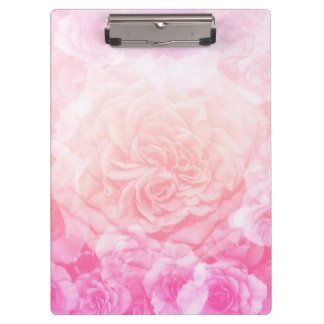 Pastel Pink Floral Ombre Clipboard