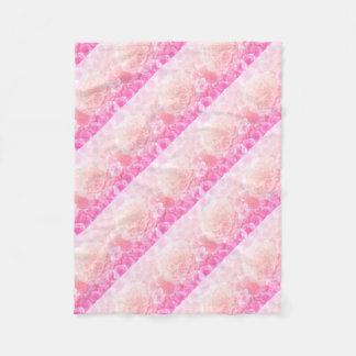 Pastel Pink Floral Ombre Fleece Blanket