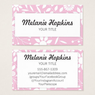 Pastel Pink Floral Pattern Artsy Business Card