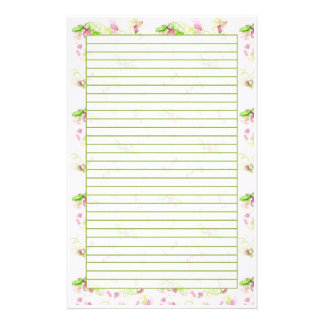 Pastel Pink Flower Blossom Spring Green Lined Stationery