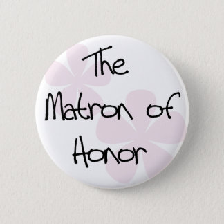 Pastel Pink Flowers Matron of Honor 6 Cm Round Badge