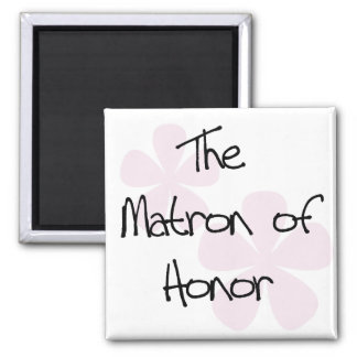 Pastel Pink Flowers Matron of Honor Square Magnet