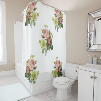 Pastel pink flowers shower curtain her