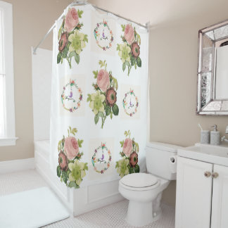 Pastel pink flowers shower curtain her birds