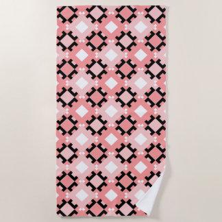 Pastel Pink Geometric Pattern Beach Towel