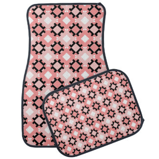 Pastel Pink Geometric Pattern Car Mats Full Set