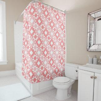Pastel Pink Geometric Pattern Shower Curtain