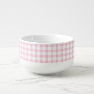 Pastel Pink Gingham Check Pattern Soup Mug