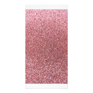 Pastel pink glitter photo greeting card