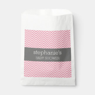 Pastel Pink & Gray Chevrons Baby Shower Collection Favour Bags