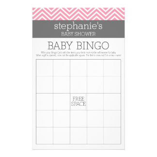 Pastel Pink Gray Chevrons Baby Shower Collection Flyers