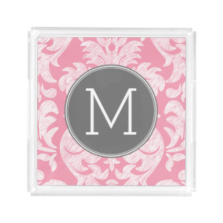 Pastel Pink & Gray Damask Pattern Custom Monogram Acrylic Tray