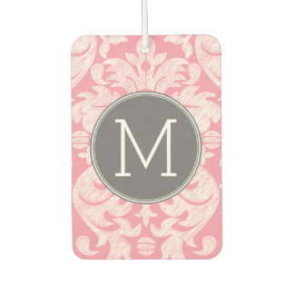 Pastel Pink & Gray Damask Pattern Custom Monogram Car Air Freshener