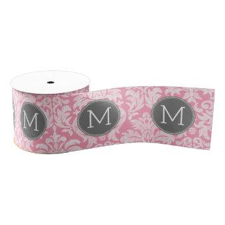 Pastel Pink & Gray Damask Pattern Custom Monogram Grosgrain Ribbon