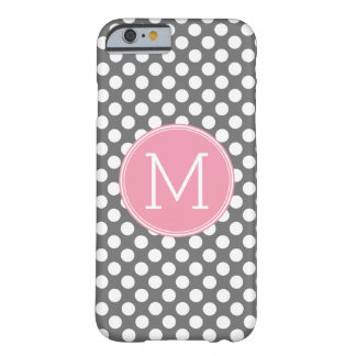 Pastel Pink & Gray Polka Dots with Custom Monogram Barely There iPhone 6 Case