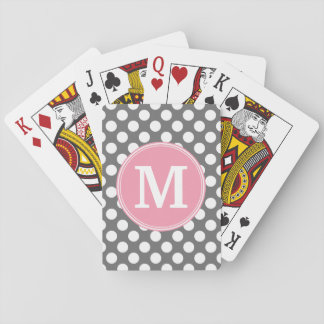 Pastel Pink & Gray Polka Dots with Custom Monogram Playing Cards
