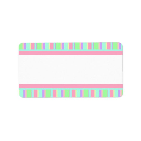 Pastel Pink, Green and Purple Stripes for Parties Address Label