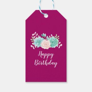 Pastel Pink & Green Floral Bouquet Happy Birthday Gift Tags