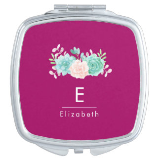 Pastel Pink & Green Floral Bouquet Monogram Makeup Mirror