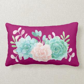 Pastel Pink & Green Floral Bouquet on Magenta Back Lumbar Cushion