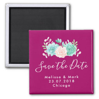 Pastel Pink & Green Floral Bouquet Save The Date Magnet