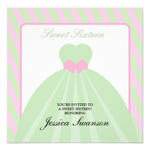 Pastel Pink & Green Formal Gown Sweet Sixteen